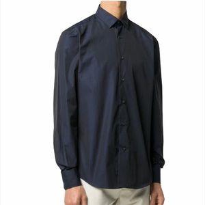 Lanvin 100% Cotton Navy Blue Button Up Shirt
